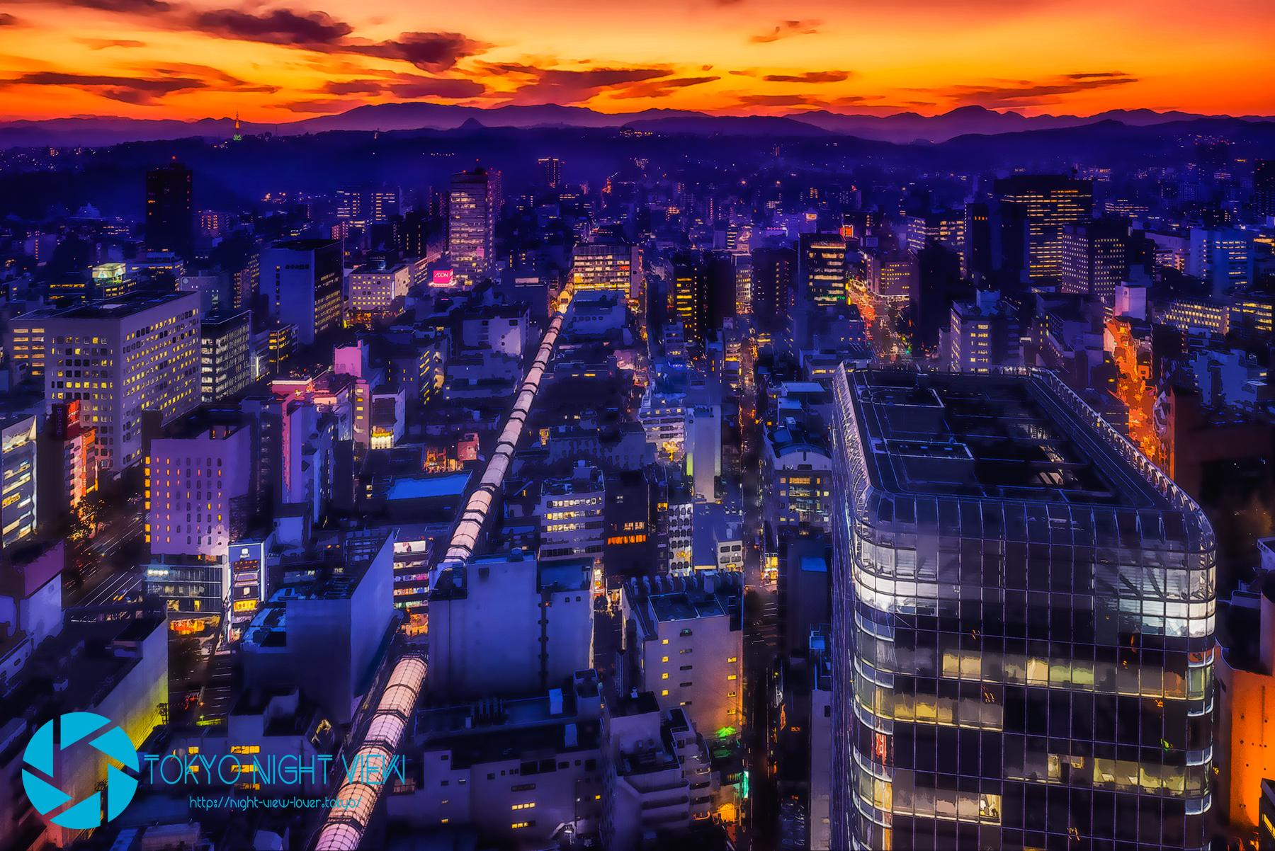 AERから見る仙台夕景